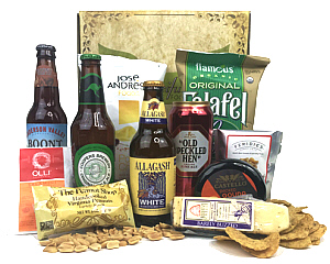 Gift Box containing Beer, Cheese, Salami, and Snacks