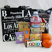 Los Angeles gift tote with California snacks, sunscreen and water.