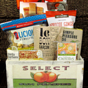 A California gift in a fruit crate with delicious and wholesome snacks
