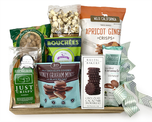 A gift basket full of artisanal foods from California