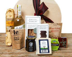 Some of our personal favorite foods - cheese, salami, Elderflower Press�, chocolates, etc., in an elegant gift box.