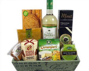 French wine gift with cheese, chocolate, duck rillettes, fine food