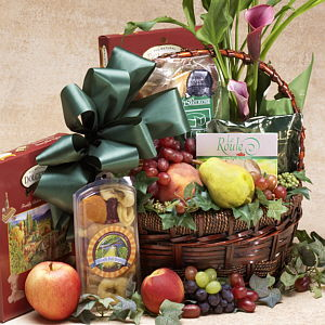 Flowers, fruit, cheese basket