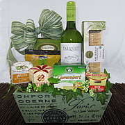 French wine gift with cheese, chocolate, duck rillettes,fine food