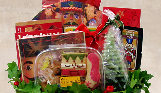 link to Fancifull's Holiday Gift Basket pages - custom gift baskets are also available