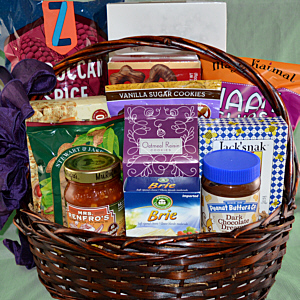 variety of easy to share foods in a gift basket