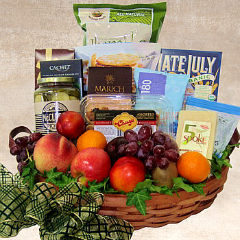 Fine Foods and Fresh Fruit Deluxe Gift Basket
