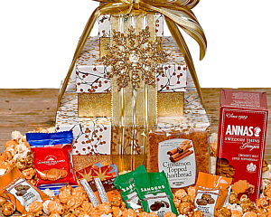 Christmas gift baskets golden branches cookie tower negle Choice Image