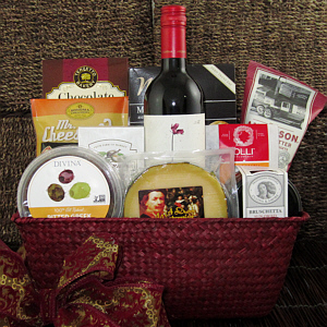 Wine Basket with cheese, crackers, nuts, titled Warm Wishes