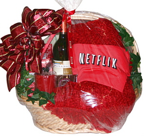 Netflix blanket in a custom basket