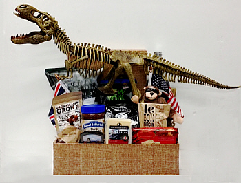 A large dinosaur skeleton towers over a custom basket full of food