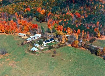 A beautiful aerial view of Sugarbush Farms in October