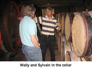 Wally August & Sylvain Fadat in Sylvain's cellar