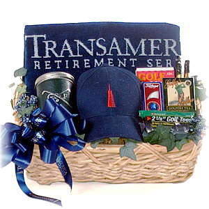 Transamerica Golf accessories in a gift basket.
