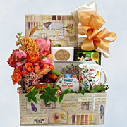 Tea and Flowers Gift Basket
