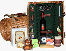 Picnic Basket with wine and cheese