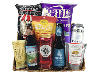 A basket weave tray with four beers (imports or micro-brews), Nuts, Snack Mixes, Cheddar Popcorn and California Chips