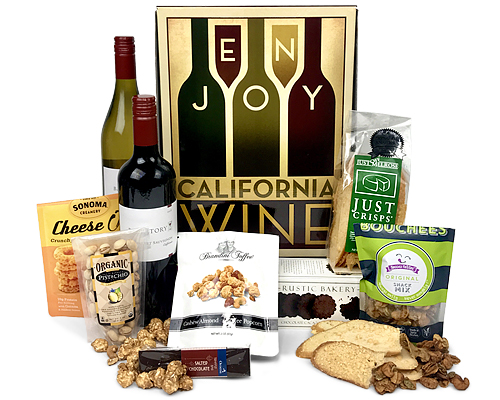 a rectangular tray with 2 California wines, cheese, nuts, chocolate, crackers and more - viewed from above