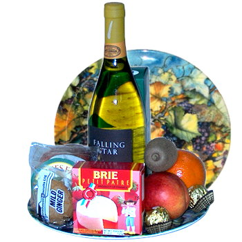 Fruit and Wine Gourmet Gift Basket