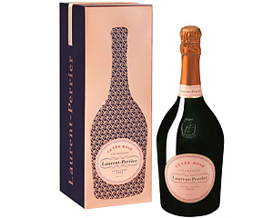 a picture of a pink Laurent Perrier Rose gift tin with a bottle of Laurent Rose Perrier beside it