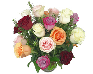a beautiful arrangement of roses in mixed yet compatible colors