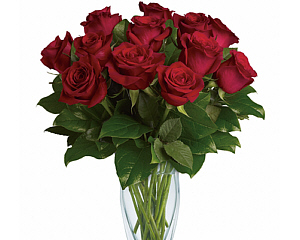 12 deep red roses in a clear glass vase