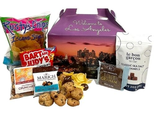 Custom box of fine foods adorned with photos of Los Angeles welcoming the guest.