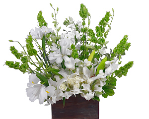 a floral arrangement of white flowers in our wood box. Suitable for all occasions.  color?  Let us know.